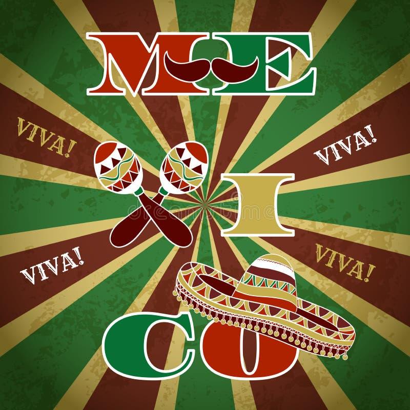 Invito messicano del partito di festa con i maracas, il sombrero ed i baffi Manifesto disegnato a mano 'Viva Mexico' dell'illustr illustrazione di stock