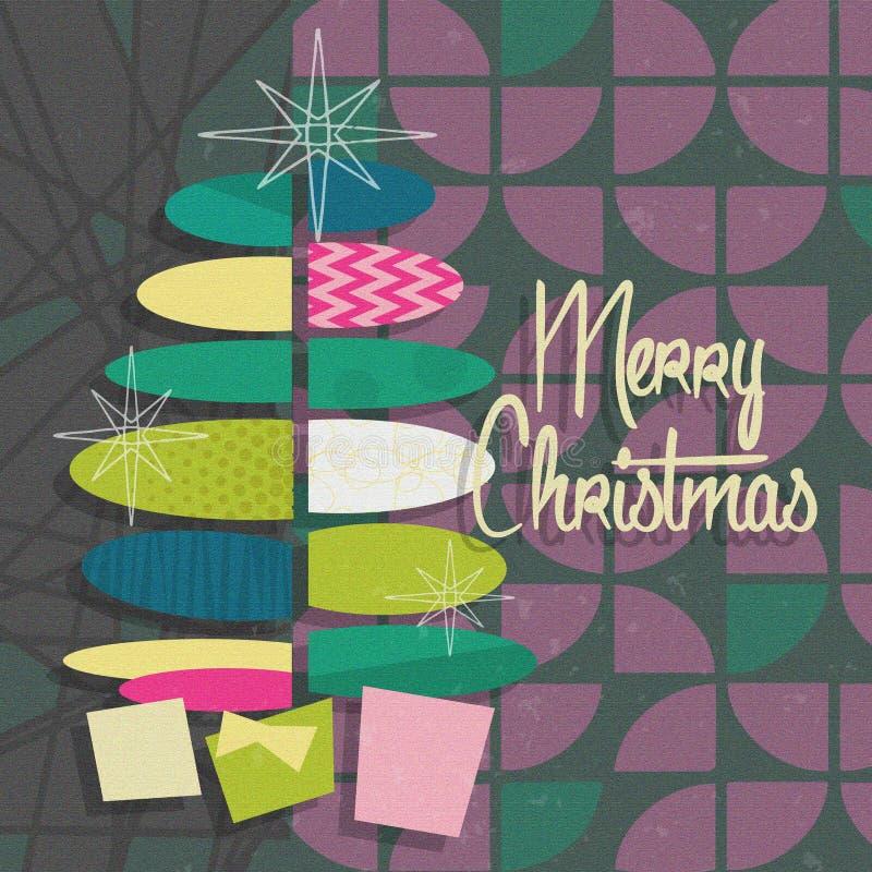 Invito moderno Gray Purple del partito della cartolina di Natale di metà del secolo fotografie stock