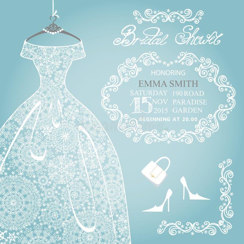 Invito nuziale della doccia Pizzo del fiocco di neve di nozze illustrazione vettoriale