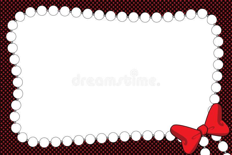 Invito O Blocco Per Grafici Della Collana Della Perla E Del Nastro Fotografia Stock