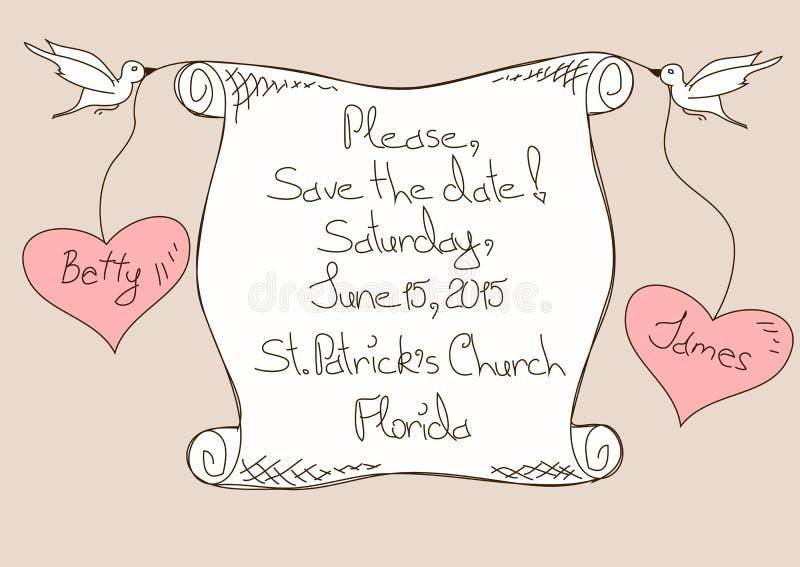 Invito o carta di nozze illustrazione vettoriale