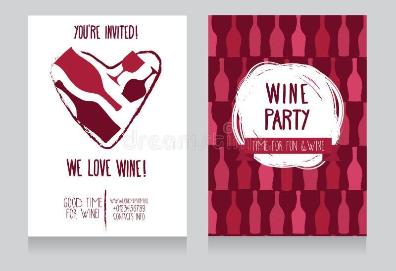 Invito per il partito del vino illustrazione di stock