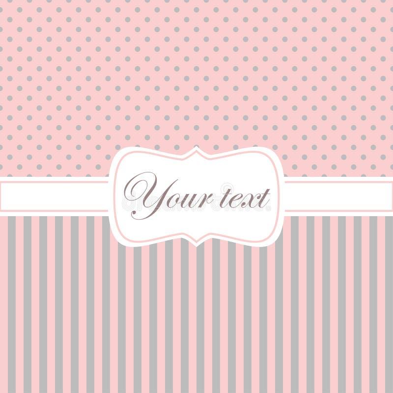 Invito rosa della scheda con i punti e le bande di Polka illustrazione di stock