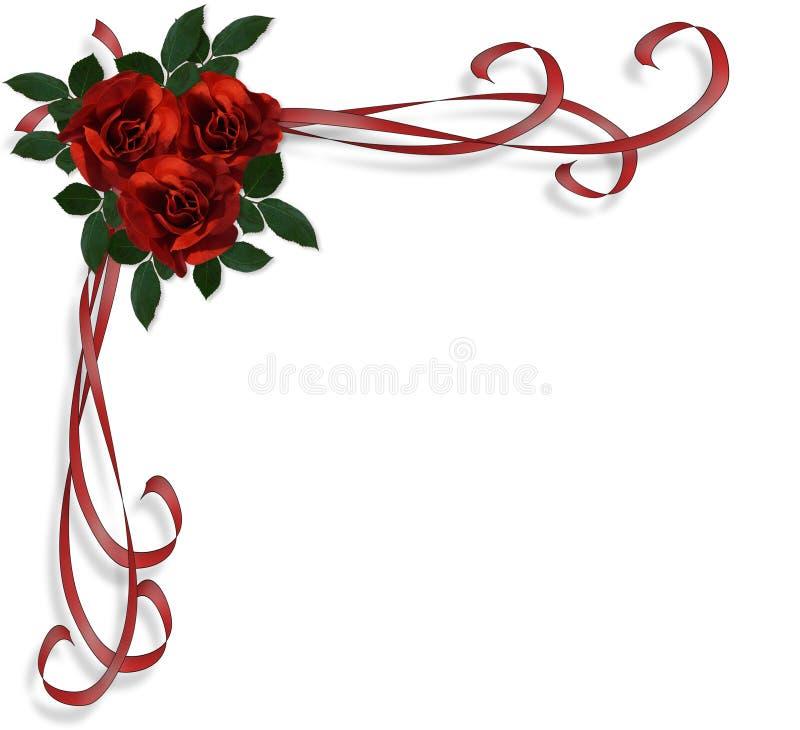 Invito rosso di cerimonia nuziale del bordo delle rose illustrazione vettoriale