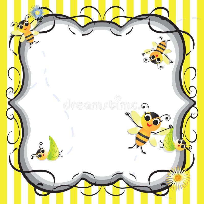 Invito sveglio del partito di acquazzone del bambino dell'ape immagini stock
