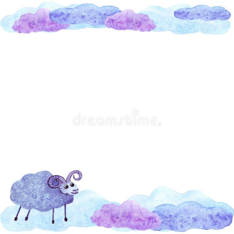 Invito sveglio della carta della struttura delle pecore e delle nuvole dell'acquerello royalty illustrazione gratis