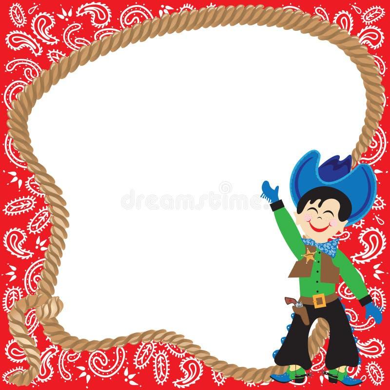 Invito sveglio della festa di compleanno del cowboy illustrazione vettoriale