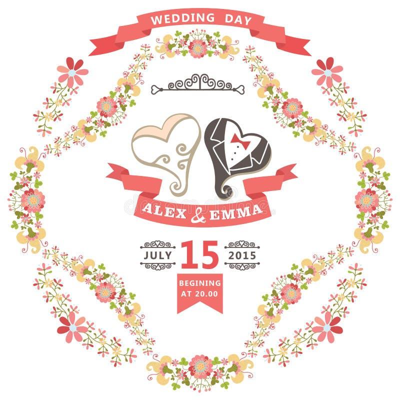 Invito sveglio di nozze con cuore stilizzato e la struttura floreale royalty illustrazione gratis