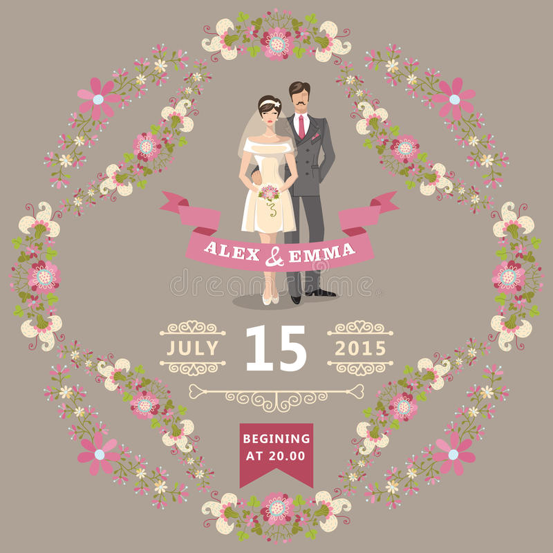 Invito sveglio di nozze con la sposa, sposo, floreale illustrazione di stock