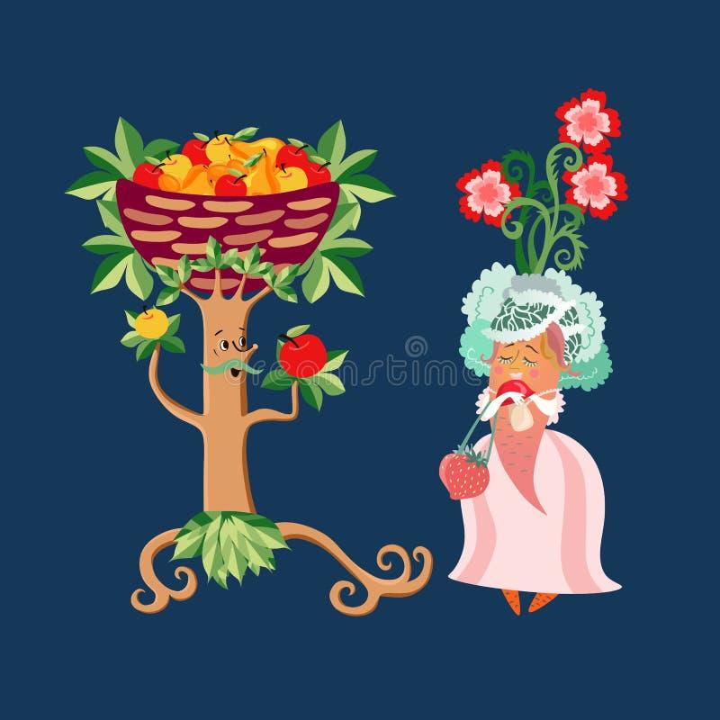Invito unico di nozze con i personaggi dei cartoni animati svegli per un vegetariano Albero da frutto dello sposo e carota della  illustrazione vettoriale