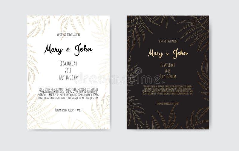 Invito vettoriale con elementi floreali in oro Modello di ornamento di lusso biglietto di auguri, sfondo della progettazione dell royalty illustrazione gratis