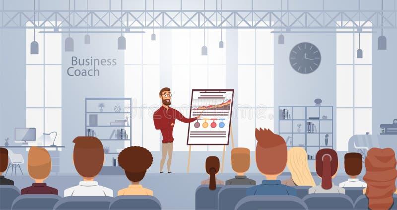 Invloedslezing die over bedrijfs opleiding op slim buscentrum spreken Vector illustratie Het concept van de conferentievergaderin royalty-vrije illustratie