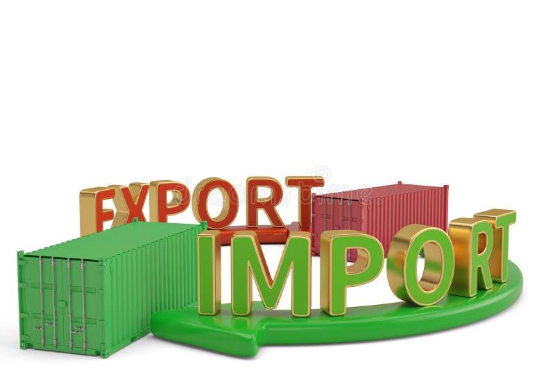 Invoer-uitvoerwoorden op pijl en containers 3D illustratie vector illustratie