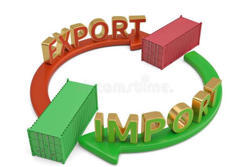 Invoer-uitvoerwoorden op pijl en containers 3D illustratie royalty-vrije illustratie