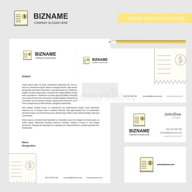 Invoice Business Letterhead, Envelope and visiting Card Design vector template stock illustration