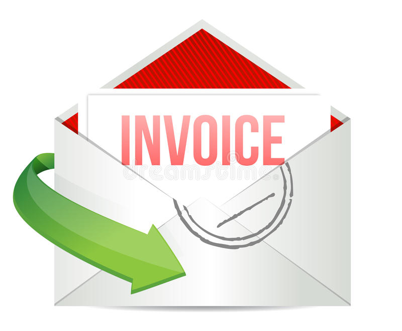 Invoice Concept representing email stock illustration