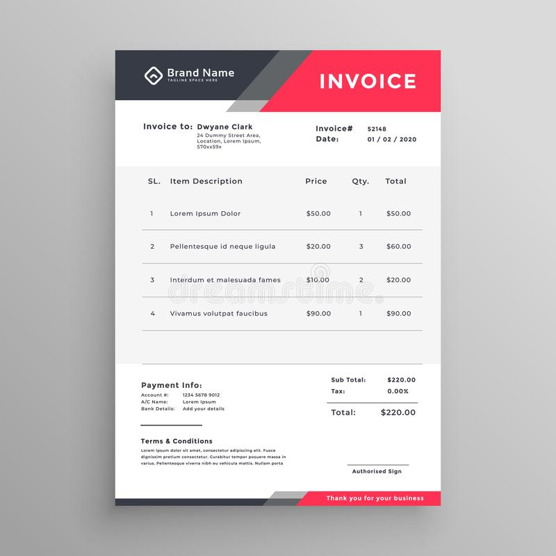 Invoice creative modern invoice template design vector illustration