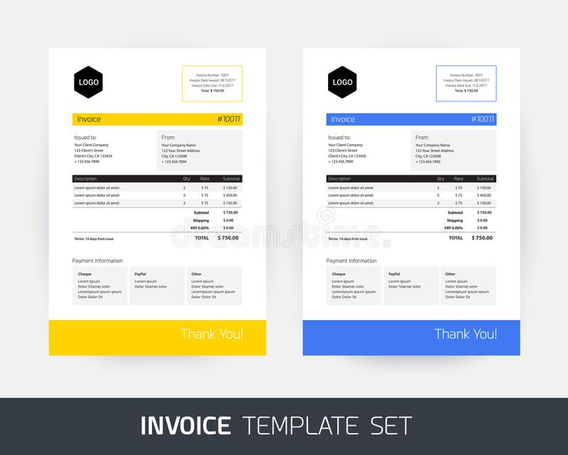 Invoice design template for business / company in yellow and blu vector illustration