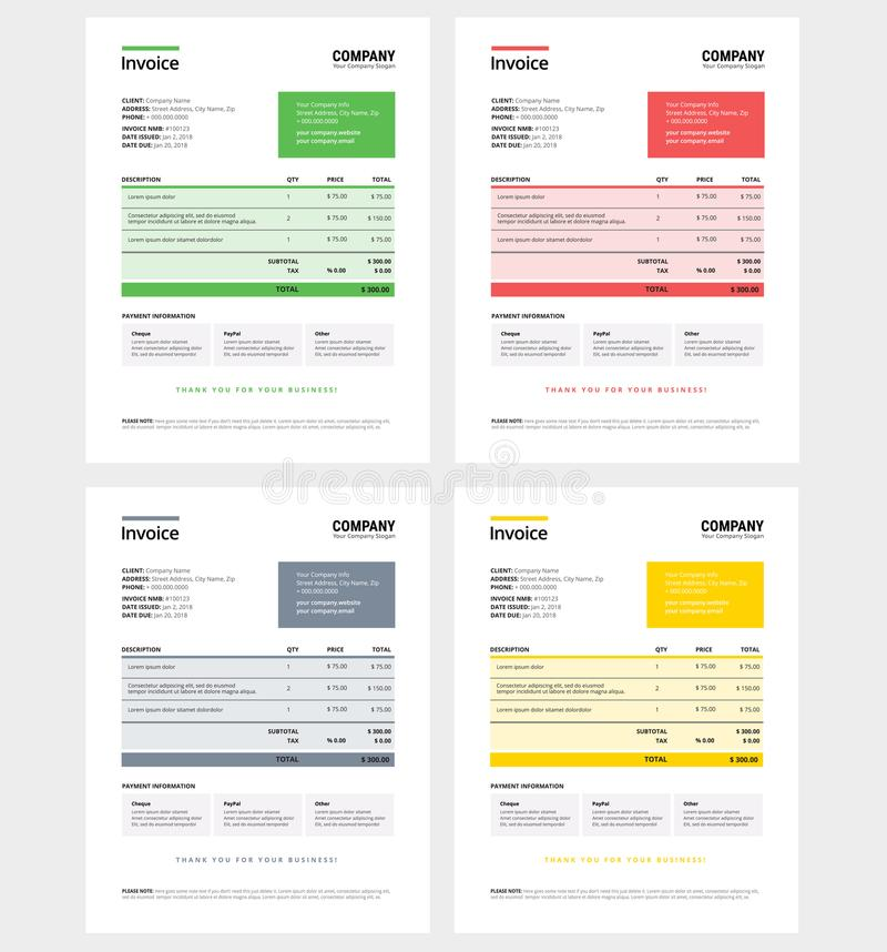Invoice design template set - business company - green, royalty free illustration