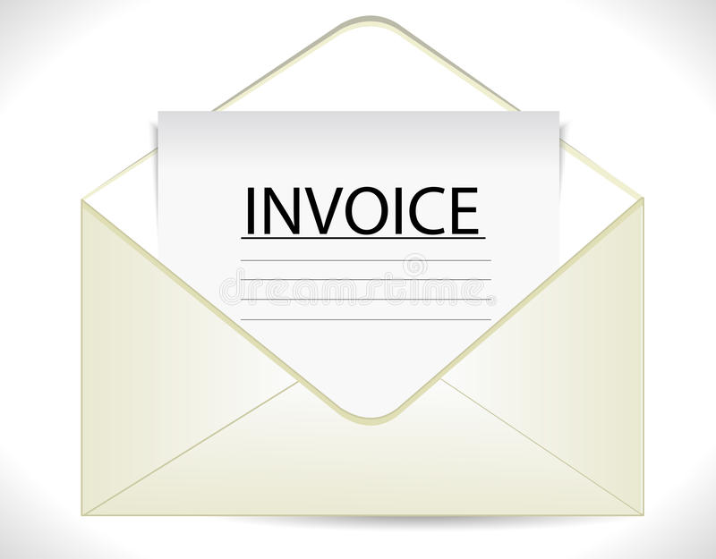 Invoice with envelope, business document icon. Vector eps10 stock illustration