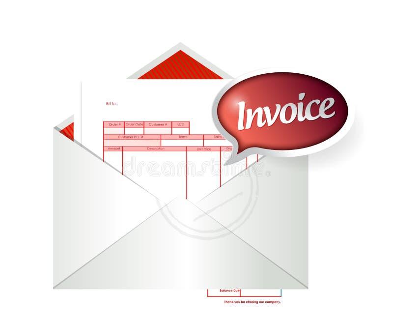 Invoice envelope illustration design. Over a white background stock illustration