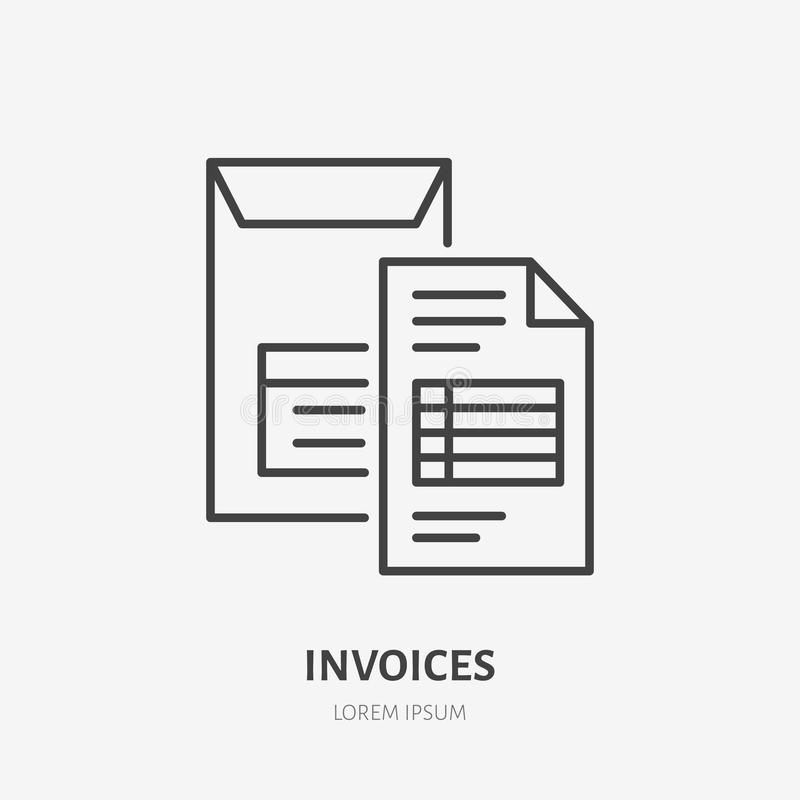 Invoice flat line icon. Document delivery in envelope sign. Thin linear logo for legal financial services, accountancy.  royalty free illustration