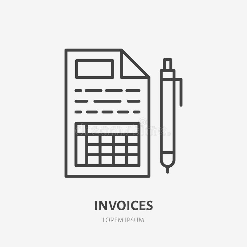 Invoice flat line icon. Receipt, paper with pen sign. Thin linear logo for legal financial services, accountancy vector illustration