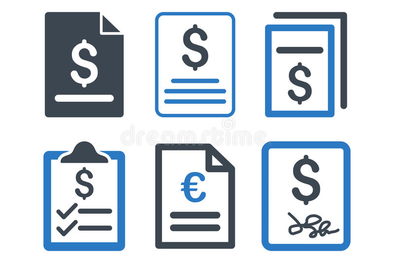Invoice Flat Vector Icons royalty free illustration