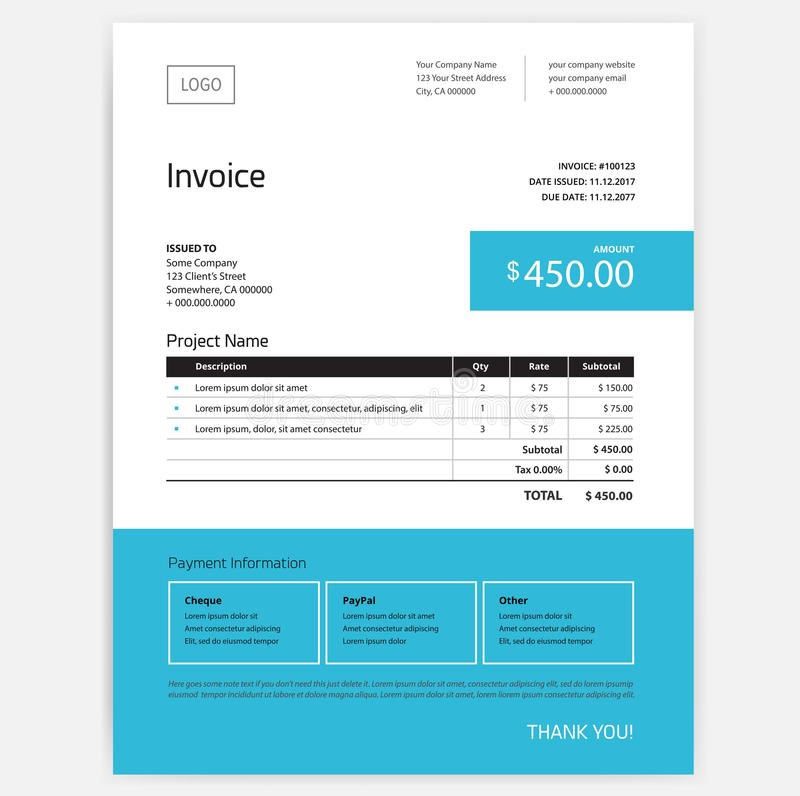 Invoice form design template - blue color vector illustration