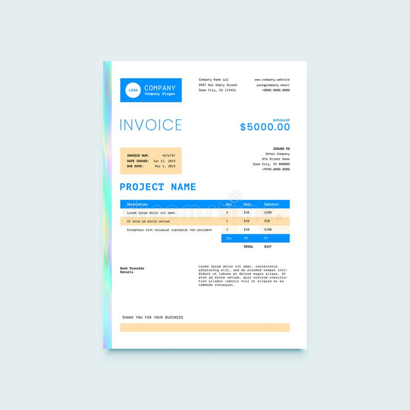 Invoice Form Design Template vector illustration