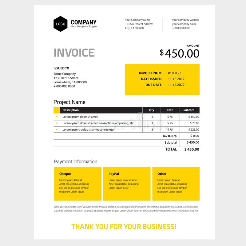 Invoice form design template - yellow and black color vector illustration