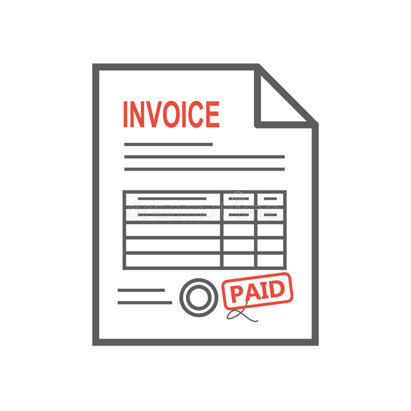 Invoice icon in the flat style, isolated from the background. Thin line vector illustration