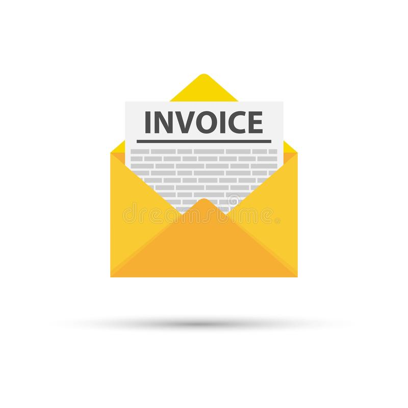 Invoice icon vector, email message received with bill document, flat style open envelope with invoice paper blank. Vector stock illustration vector illustration