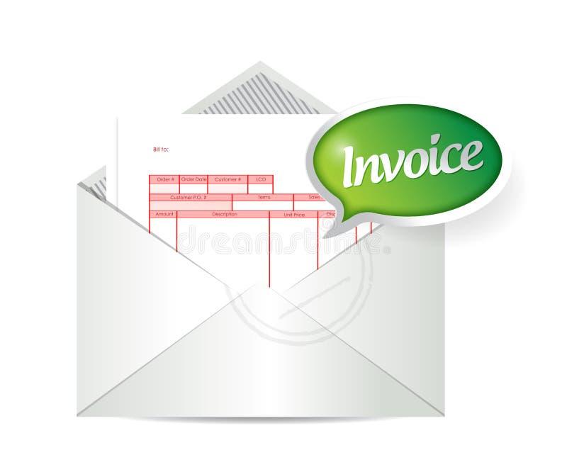 Invoice inside an envelope. illustration design. Over a white background stock illustration
