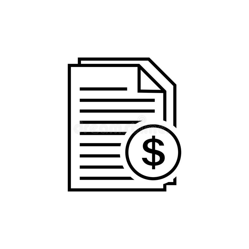Invoice line icon in flat style. royalty free illustration