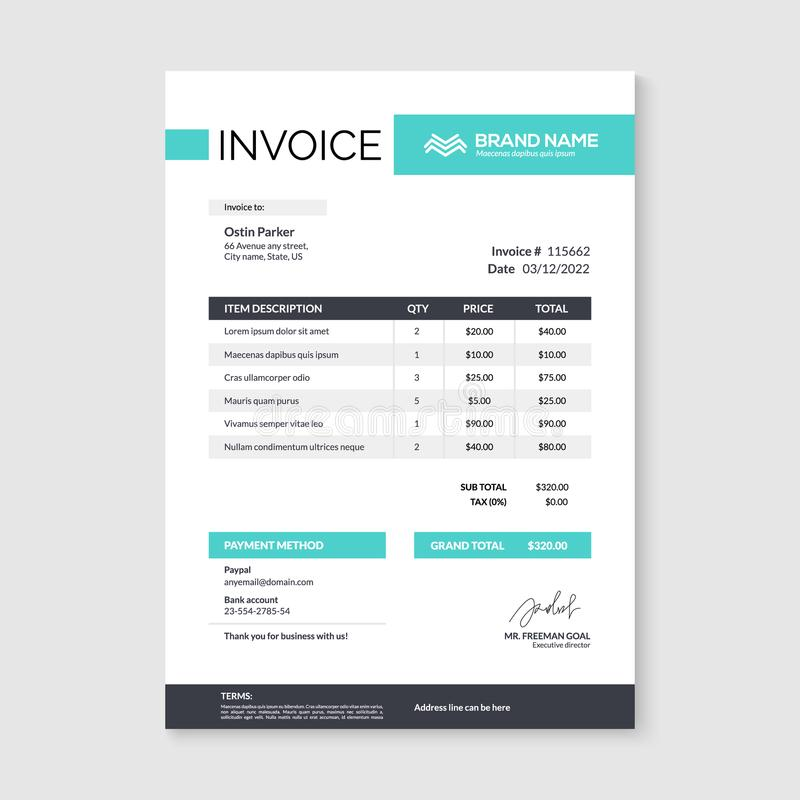Invoice minimal design template. Bill form business invoice accounting royalty free illustration