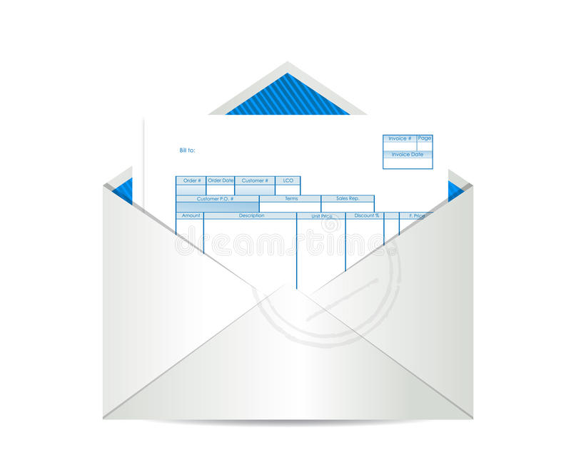Invoice receipt inside mailing envelope. Illustration design over a white background stock illustration