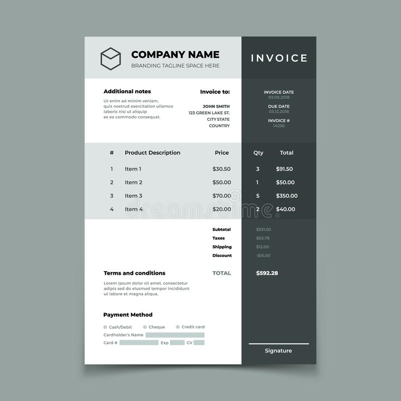 Invoice template. Bill with price table. Paper order bookkeeping service document. Quotation vector design royalty free illustration