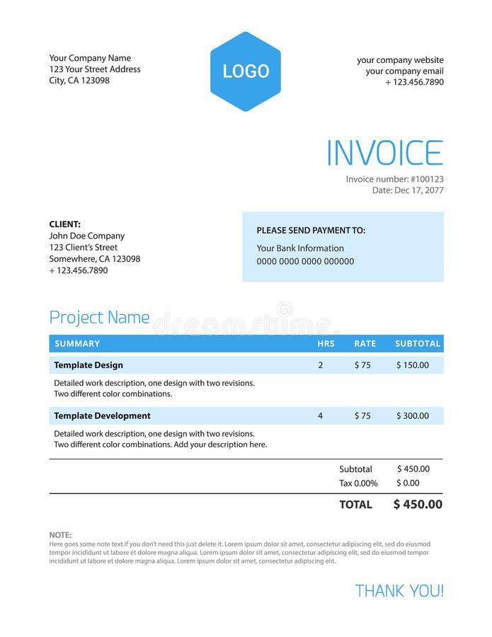 Invoice template - blue color minimalist design royalty free illustration