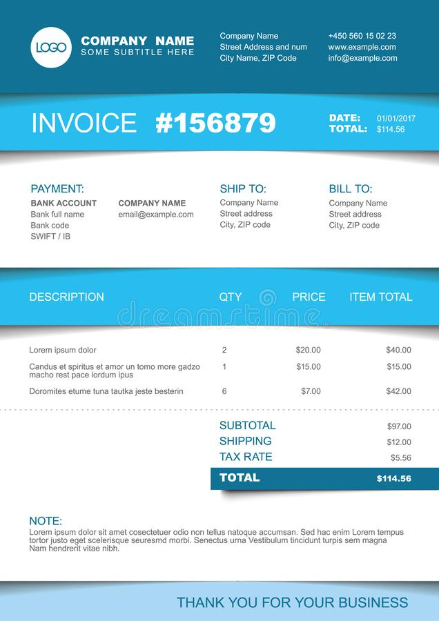 Invoice template - blue striped version stock illustration