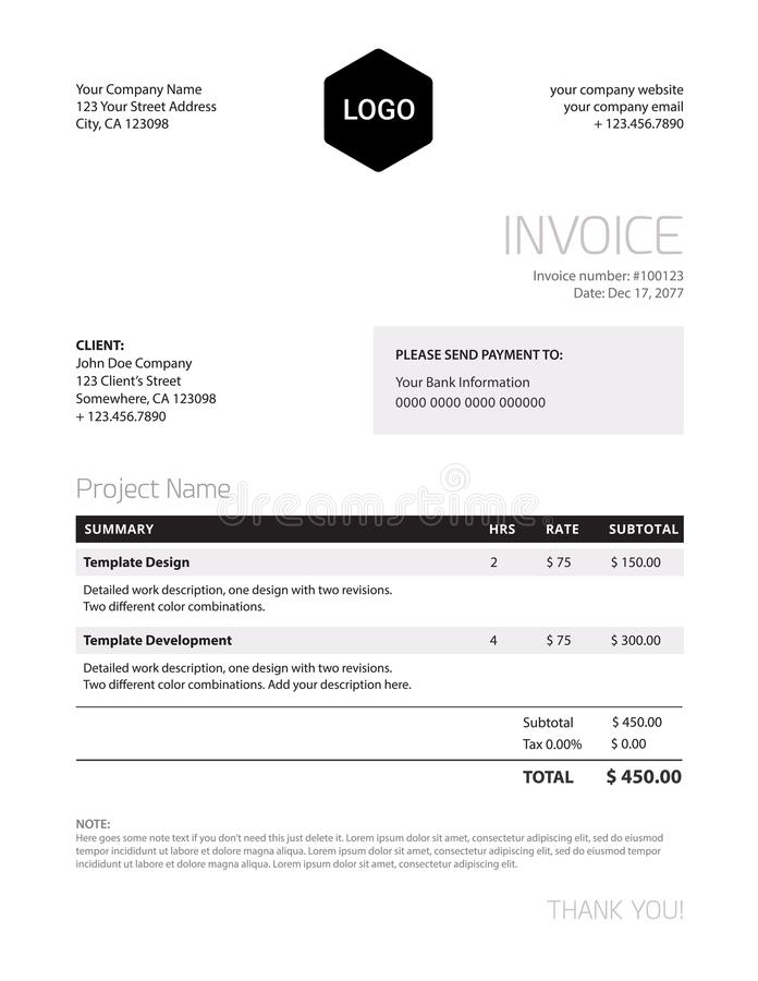 Invoice template - classy black and white business design royalty free illustration