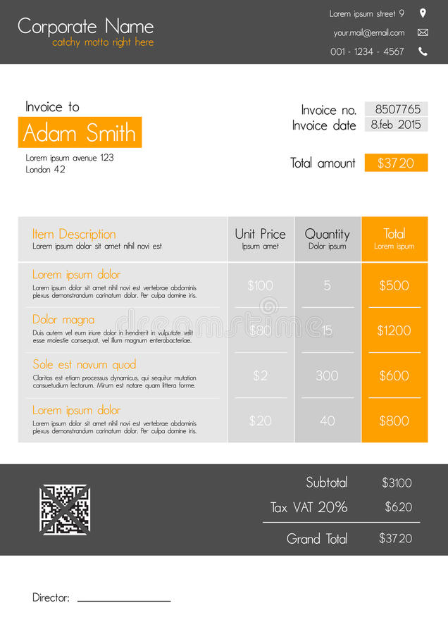 Download Invoice Template   Clean Modern Style Of Orange And Grey Stock  Vector   Illustration Of  Invoice Style