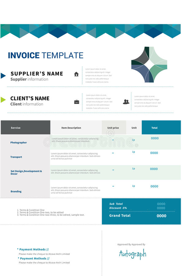 Invoice template design royalty free illustration