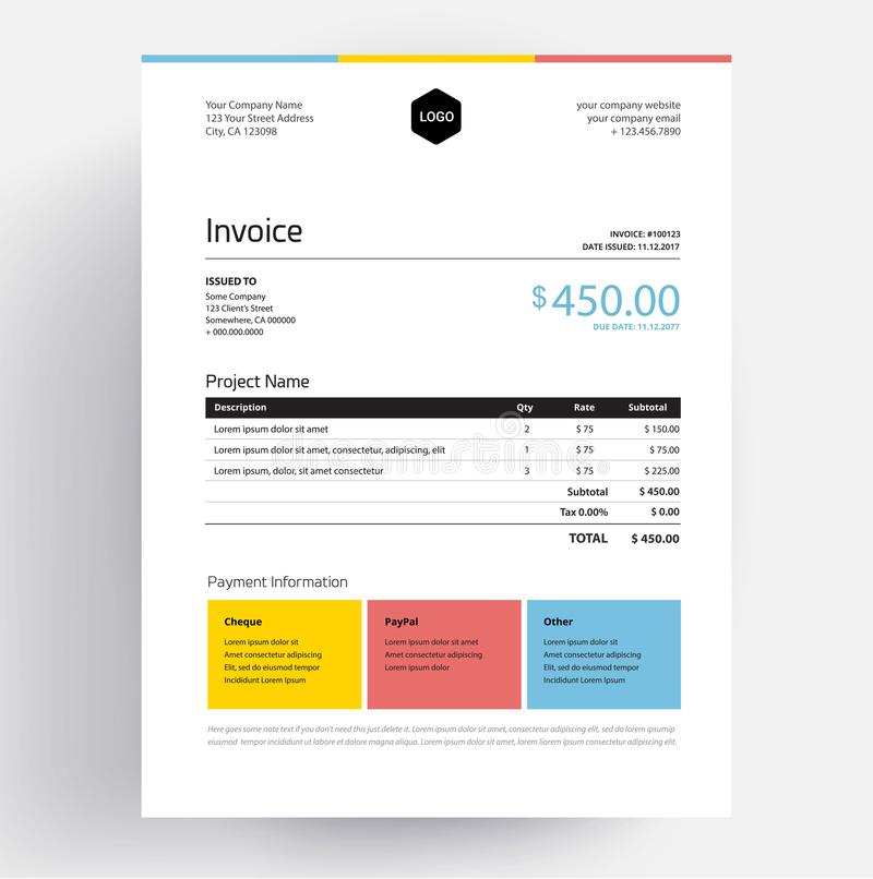 Invoice template design in minimal style - creative colorful busness template vector illustration