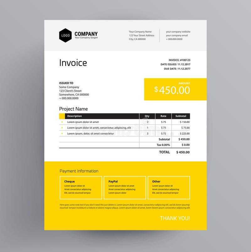 Invoice Template Design Yellow Color Us Letter Stock Vector