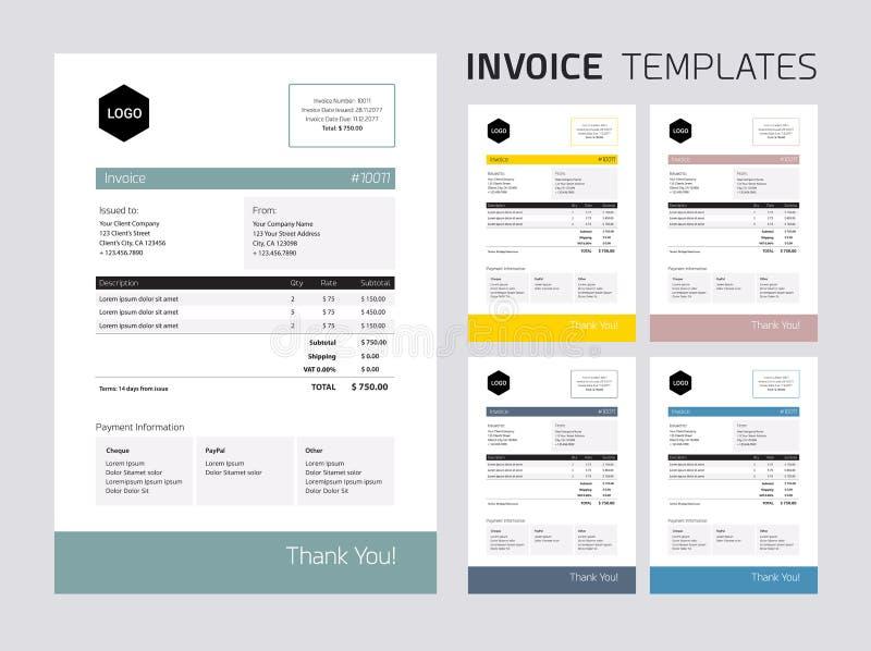 Invoice template set royalty free illustration