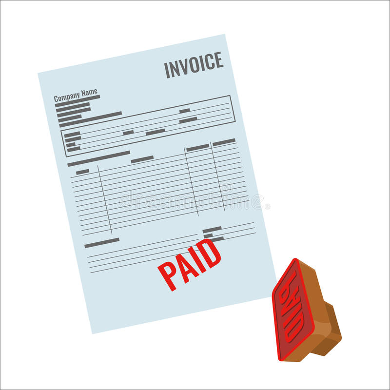 Invoice vector bill with red paid stamp close-up realistic illustration. Payment is made, rubber stamp near document royalty free illustration
