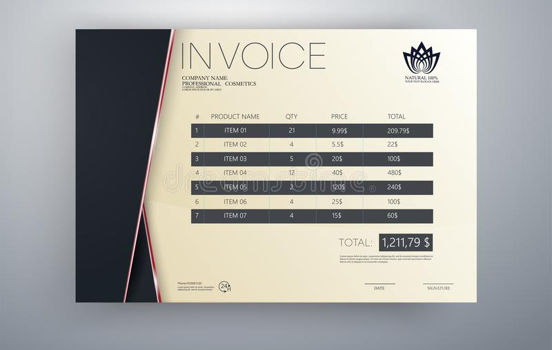 Invoice vector template design in red theme.Invoice template. Quotation table paper prder for bookkeeping services. royalty free illustration