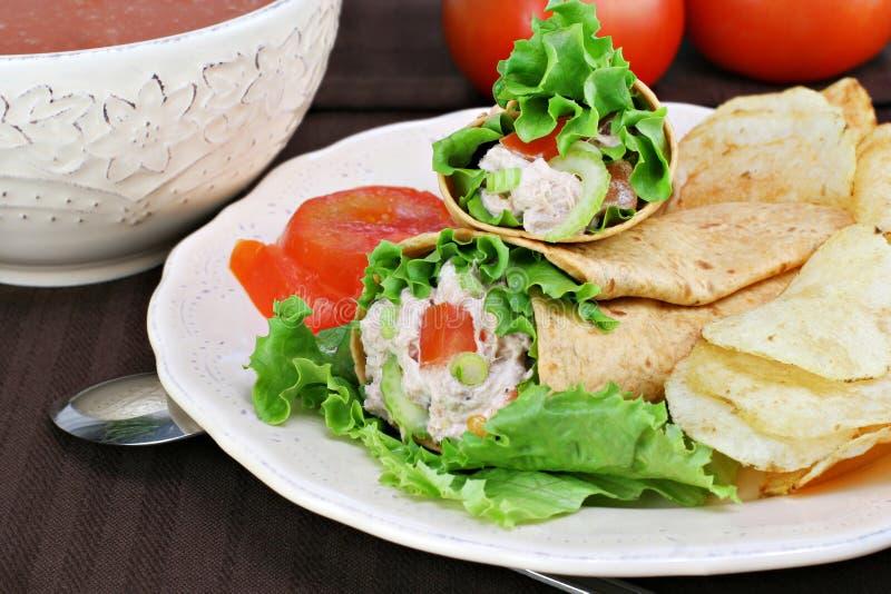 Involucri dell'insalata di sgombro, patatine fritte e minestra del pomodoro. immagine stock libera da diritti