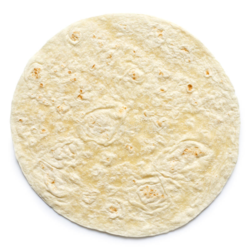 Involucro normale della tortiglia isolato su bianco immagine stock